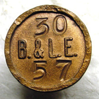 B&amp;LE copper Hubbard Pole Nail - Railroadiana