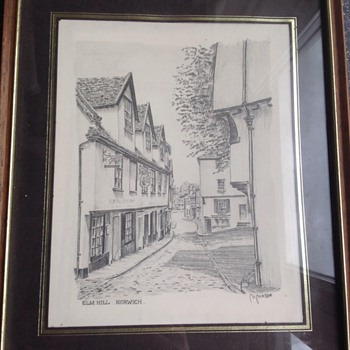 Pencil drawing of Elm Hill Norwich.