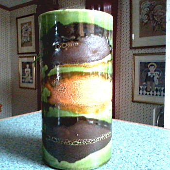 "Royal Haeger ""Earth Wrap"" Lava Glaze Cylinder Vase / Circa 1968-74 - Art Pottery"