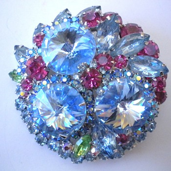 Huge Vintage Rhinestone Brooch - Costume Jewelry