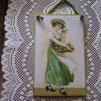 PLAQUE W/ ELLEN CLAPSADDLE ORIG. ST.PATRICK DAY ART POSTCARD ENLARGED,SIGNED