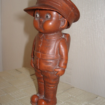 ww 1 figure of boy soldier with removable hat.