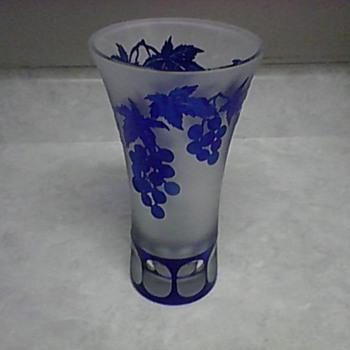 CUT GRAPE LEAF TRUMPET VASE  - Art Glass