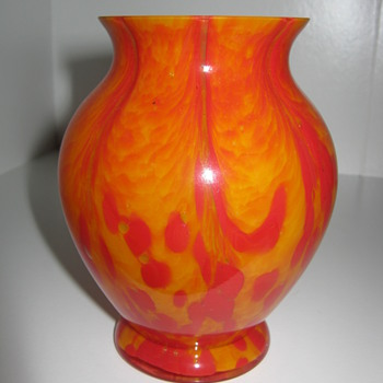 Czechoslovakia Glass Vase Orange and Red  Stripes and Spots decor - Art Glass