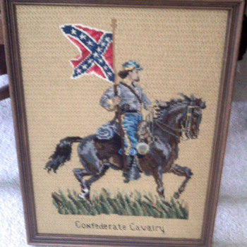 Old Needlepoint  Confederate  Soldier  textile  picture - Military and Wartime