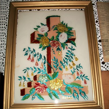 Awesome Victorian Tinsel Reverse Glass Painting of a Cross - Victorian Era