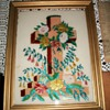 Awesome Victorian Tinsel Reverse Glass Painting of a Cross