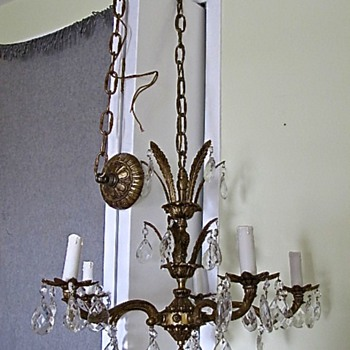 Vintage Brass Crystal 5 lights Chandelier with 6 foot chain and mounting