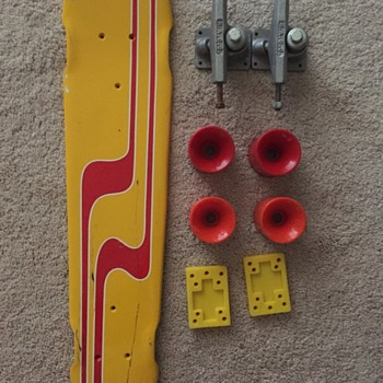 Rare Fiberglass Skateboard with wheels, trucks and riser pads - Sporting Goods