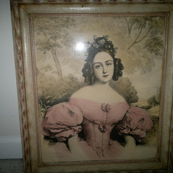 Victorian Lady in pink dress - Posters and Prints