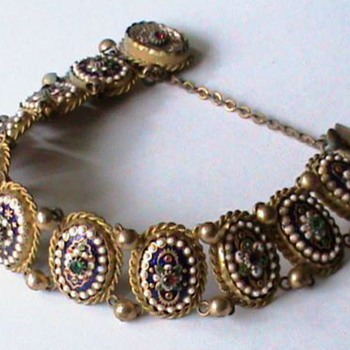 Antique Rare Bressan Enamel French Bracelet