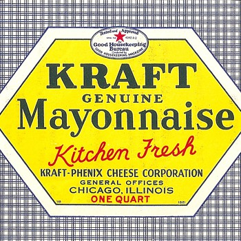 1939 Kraft Mayo Label/Invitation - Advertising