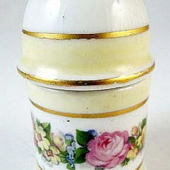 Two Piece Ceramic Table Lighter Hand Painted In France  - Tobacciana