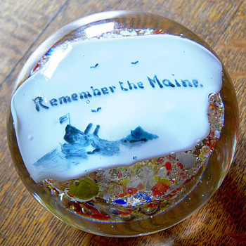 Remember the Maine paperweight - Art Glass