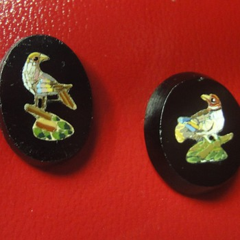 Two Micro Mosaic bird plaques.