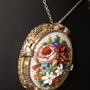 Vermeil Micro Mosaic Flower Pendant on Silver chain. - Fine Jewelry