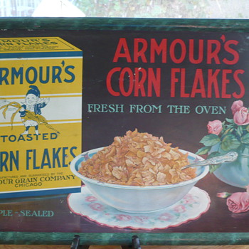 Antique/Vintage Armour Corn Flake Sign - Tin - cardboard back - Advertising