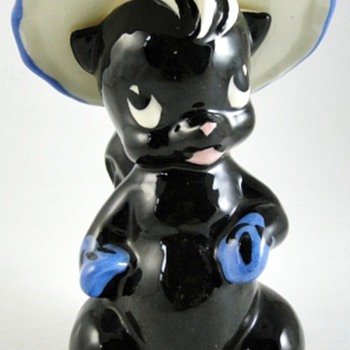 Skunk Vase, Yes A Skunk Wearing A Hat! - Pottery