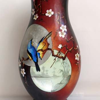 Baccarat Japonisme Birds and Moon Opaline Vase, c. 1880