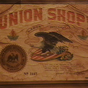 1920's-1930's Barber Shop Union Sign - Advertising