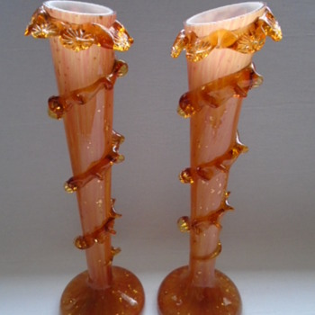 Bohemian ?Welz? Vases Cased in Amber..... still a work in progress!