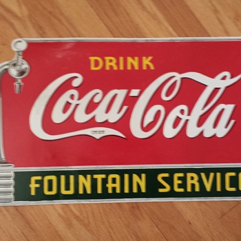 Single Sided Porcelain Coca Cola Spigot Sign - Coca-Cola