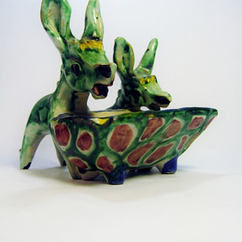 ITALIAN DONKEY'S /DATES 1940's?/ Thankyou Walter Del Pellegrino for your help!!!!!:) - Art Pottery