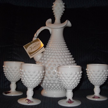 Fenton Glass Wine Decanter with 4 cups Hobnail  Pattern Milk Glass