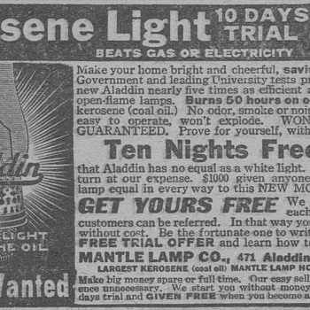 1919 - Aladdin Oil Lamp Advertisement