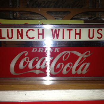 "50s Coca Cola light up sign ""lunch with us""  - Coca-Cola"