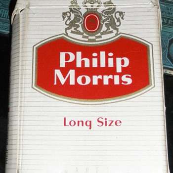 Philip Morris Cigarette Pack and various Tobacco Tax Stamps
