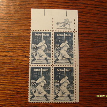 Babe Ruth Plate Block Stamps - Stamps