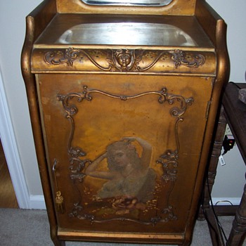 "Antique Art Nouveau Wooden ""Sheet Music"" Cabinet - Furniture"