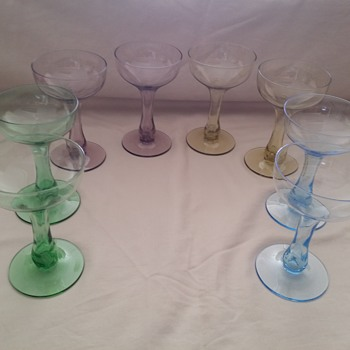 Antique Champagne Glasses, Purple, Green, Blue, and Yellow