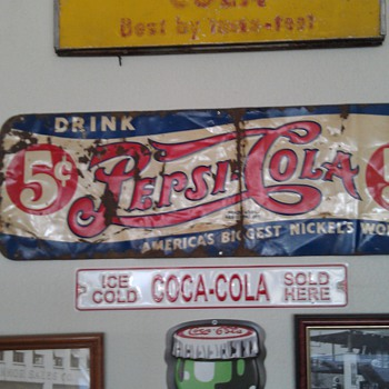 Antique Pepsi-Cola Sign - Signs