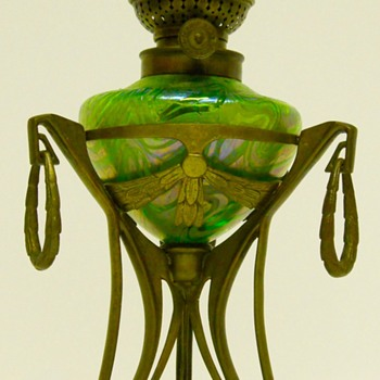 "FRITZ HECKERT"" Oil Lamp"" Siberband(Changeant), Poss design ""Otto Thamm"", Circa 1890-1900 - Art Glass"