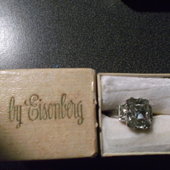 Eisenberg Ring (Script E) on back of ring - Costume Jewelry