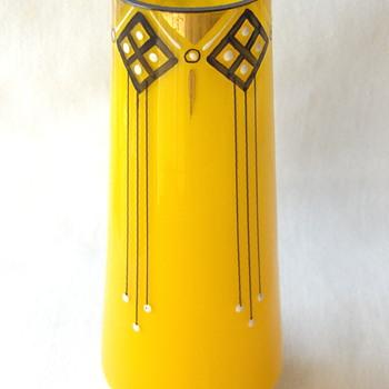 Art Deco Riedel? Yellow Glass Enameled Tango Decor Vase & Documentation, Part I - Art Glass