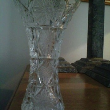 Etched cut crystal bud vase, vintage or antique - Glassware
