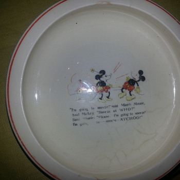 Disney Mickey & Minnie Mouse Nursery Plate - China and Dinnerware