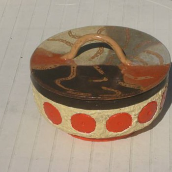 Comanche Pottery Pot with Lid Signed On The Inside