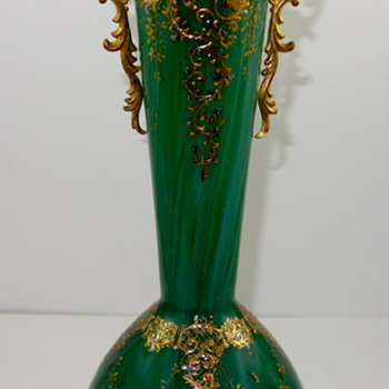 Loetz Malachit with Ormulo Mounts, ca. 1880s - Art Glass