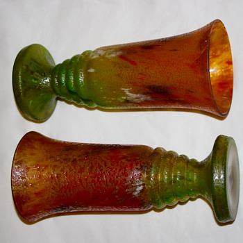 Pair of Glue Chip / Chipped Ice Vases ( chzechoslovia )