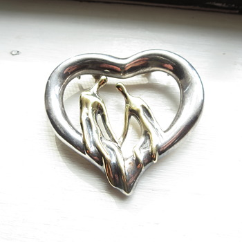 .925 and 14K heart pin or pendant signed R.B.