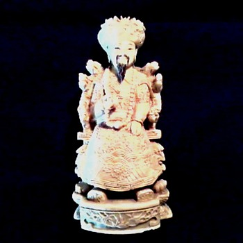 Faux Ivory Seated Emperor Carving / Qianlong Mark / Circa 20th Century - Asian