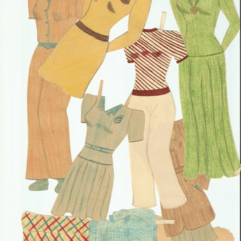 Handmade Paper dolls and clothes Dating to WWII