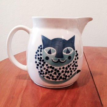 Blue Cat Pitcher by Kaj Franck for Arabia - Art Pottery