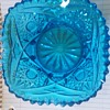 Vivid blue patterned glass bowl