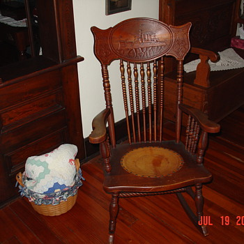 Early 1900's Antique Rocker With Hand Carved Ship In Headrest - Furniture