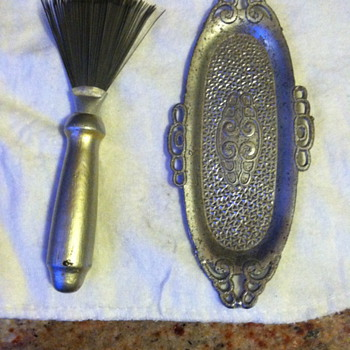 Pewter tray with miniature rake with silver painted wooden handle ?